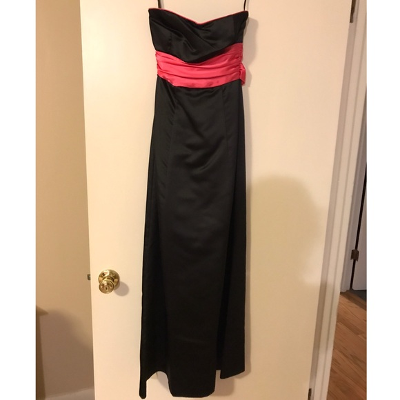 Dresses   Black Strapless Long Dress With Pink Satin Sash   Poshmark